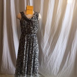 Maxi dress in black & white paisley print size 10